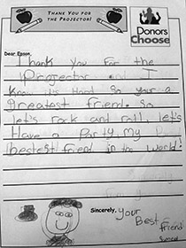 A letter of thanks from one of the children