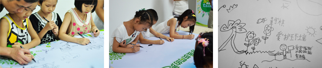 Children writing environmental pledges during a program at an elementary school in Shenzhen, in July 2013